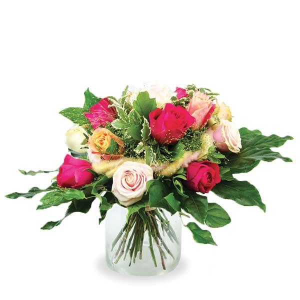 bouquet rond court mélange de roses