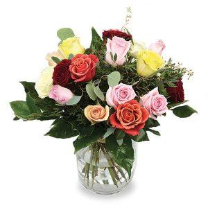 Bouquet rond mélange de roses